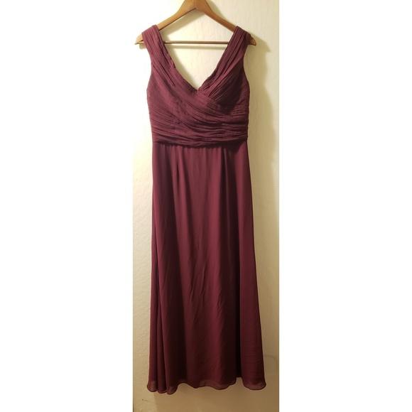 Dresses & Skirts - Floor length dress wine, V neckline prom, wedding
